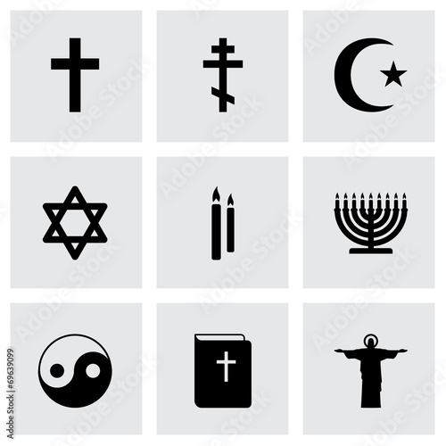 Vector black religion icons set - 69639099