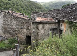 Rural depopulation. Abandoned old bar, restaurant in Iera, Tusan