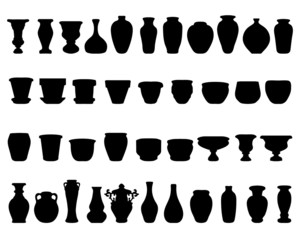 Black silhouettes of pottery and vases, vector