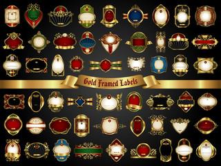 Vector set of gold framed labels - vintage style