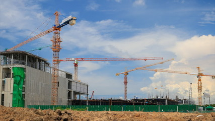 Time lapse crane working in construction building
