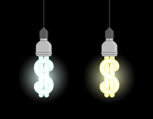 Energy saving lamps in form of dollar sign