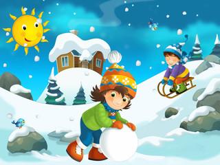 Winter cartoon illustration for the children
