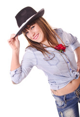 woman posing with hat