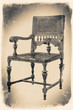 old wooden chair in retro black and white colors