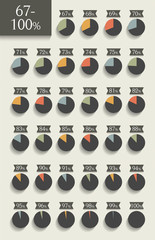 Collection of infographic percentage circle charts.