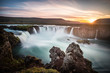 canvas print picture - Iceland, Godafoss at sunset, beautiful waterfall, long exposure