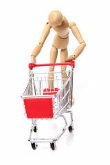 sad man pushing a empty shopping cart