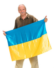Elderly man with Ukrainian flag in his hands  showing thumbs up