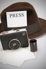 Retro Camera & Fedora Hat