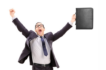 Delighted businessman