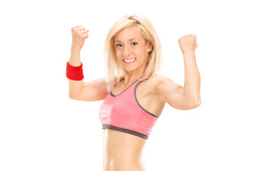 Delighted female athlete