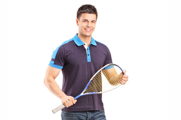 Young male racquetball player