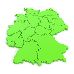3D map of germany in green