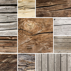 wood board plank texture collage set