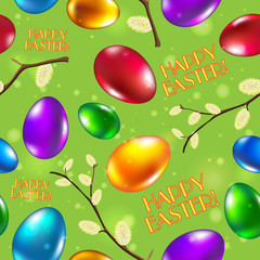 Easter seamless pattern vector green. Happy easter.
