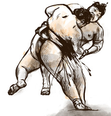 Sumo. An full sized hand drawn illustration in calligraphic styl