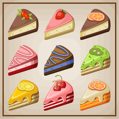 Set of cakes and cheesecakes. vector illustration