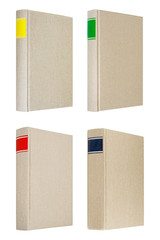 Four grey books isolated on white background