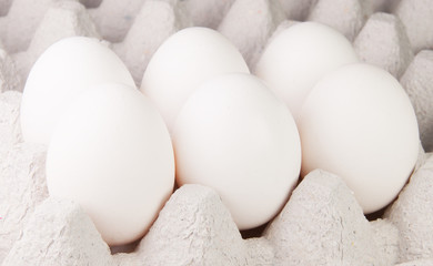 Six White Eggs On The Tray