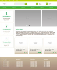 Graphic template homepage of Internet business. Clear webdesign