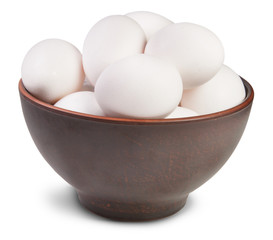 White Eggs Into Ceramic Bowl