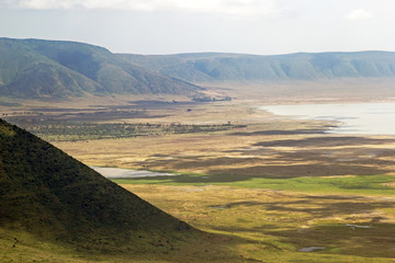 Panoramic view of Ngorongoro crater and rim.
