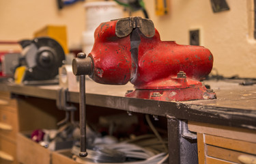 Red vise in the workshop