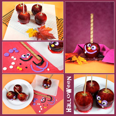 Making homemade Halloween toffee apples collage
