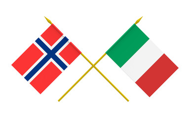 Flags of Italy and Norway, 3d render, isolated