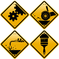 Rhombic yellow road signs with tools