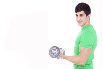 Portrait of a young athletic man lifting weights, isolated over