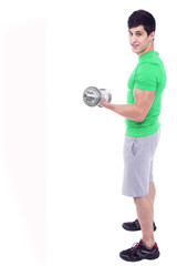 Full body portrait of a athletic man lifting weights, isolated o