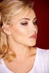 Sensual portrait of a young blond woman