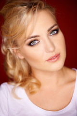 Beautiful blond with grey blue eyes