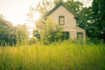 Abandoned and overgrown home in morning light