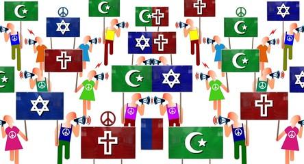 Manif de pacifistes musulmans,juifs et chrétiens