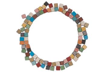 Round multicolor limestone frame