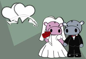 hippo married cartoon background