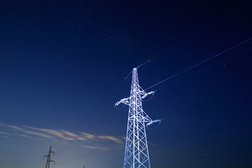 Pylon under starry sky