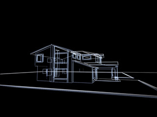 3D abstract cottage. oncept - modern architecture.