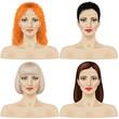 Set of women's faces