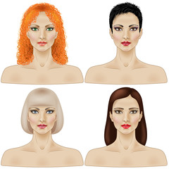 Set of women's faces
