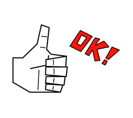 Thumbs-up sign with OK logo