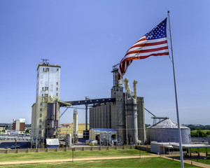 American industry with flag in Illinois