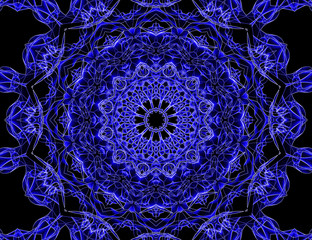 Blue and glowing mandala