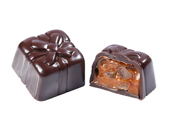 Dark chocolate candy with caramel filling