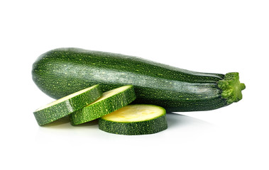 fresh green zucchini isolated on white background