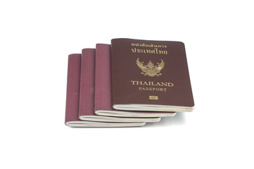 Thailand passports on white background