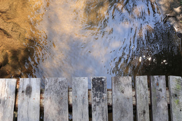 wood plank above the river